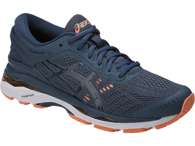 Front Right view of GEL-KAYANO 24, SMOKE BLUE/DARK BLUE/CANTELOUPE
