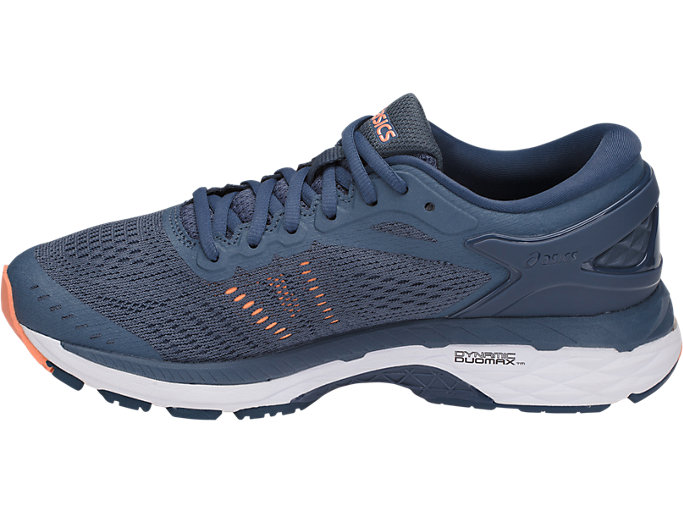Left side view of GEL-KAYANO 24, SMOKE BLUE/DARK BLUE/CANTELOUPE