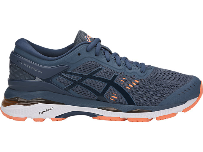 Right side view of GEL-KAYANO 24, SMOKE BLUE/DARK BLUE/CANTELOUPE