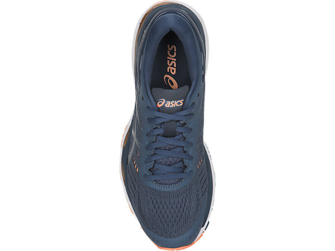 Top view of GEL-KAYANO 24, SMOKE BLUE/DARK BLUE/CANTELOUPE