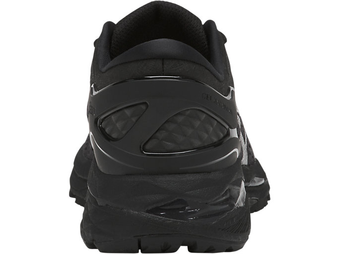 Back view of GEL-KAYANO 24, BLACK/BLACK/CARBON