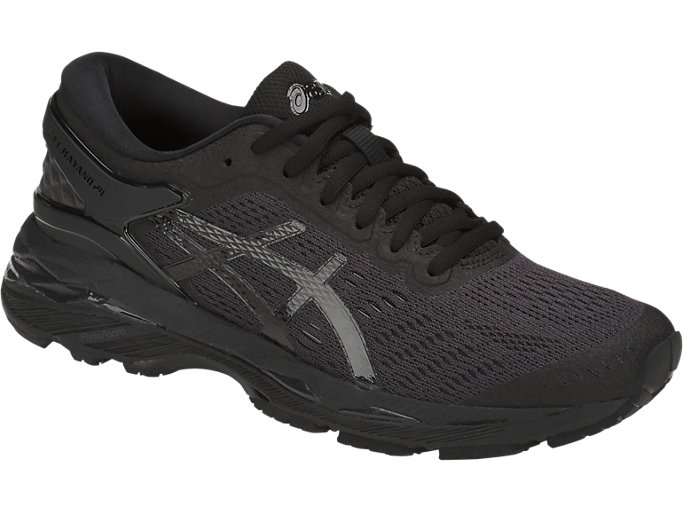 Front Right view of GEL-KAYANO 24, BLACK/BLACK/CARBON
