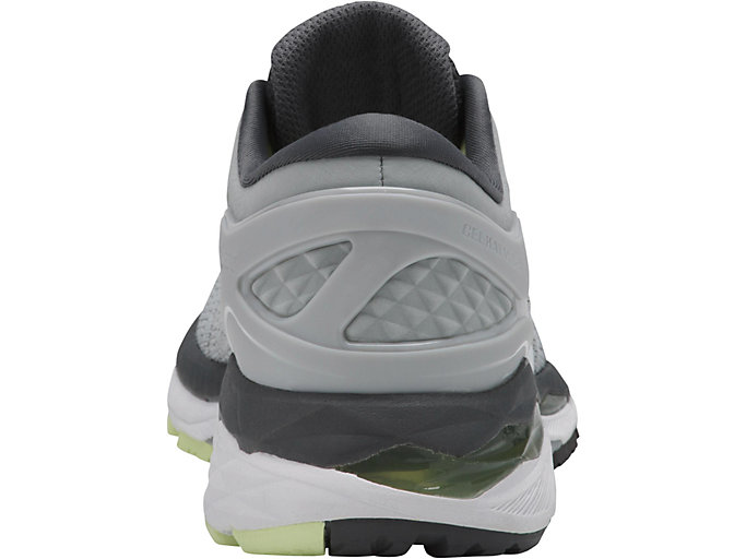 Back view of GEL-KAYANO 24, GLACIER GREY/WHITE/CARBON