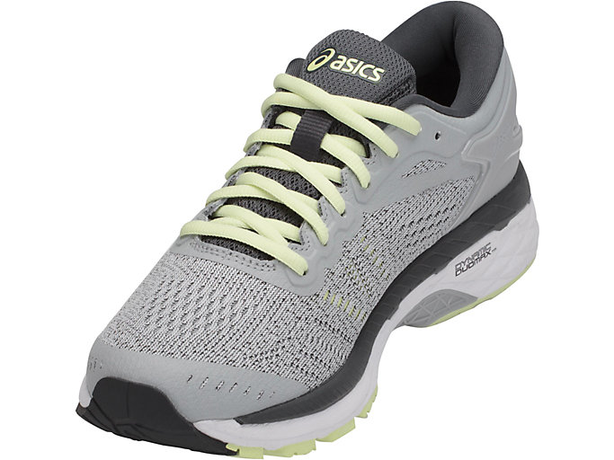 Front Left view of GEL-KAYANO 24, GLACIER GREY/WHITE/CARBON