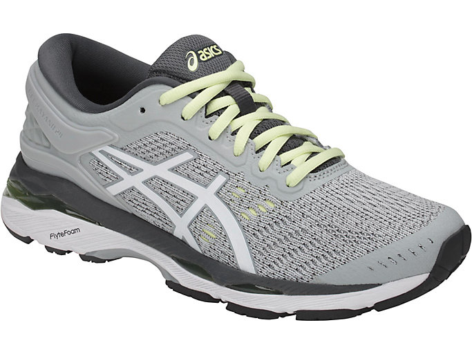 Front Right view of GEL-KAYANO 24, GLACIER GREY/WHITE/CARBON