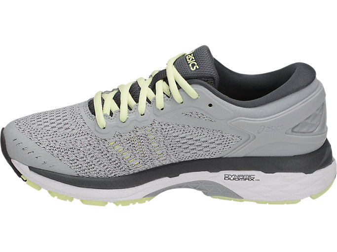 Left side view of GEL-KAYANO 24, GLACIER GREY/WHITE/CARBON