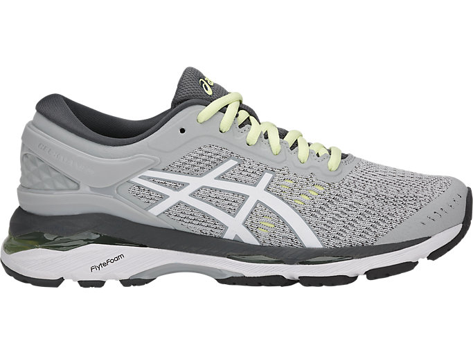 Right side view of GEL-KAYANO 24, GLACIER GREY/WHITE/CARBON