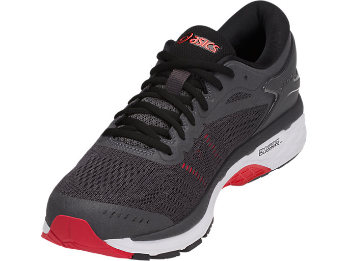 Front Left view of GEL-KAYANO 24 (2E), DARK GREY/BLACK/FIERY RED