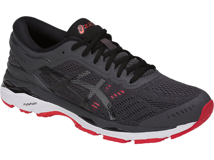 Front Right view of GEL-KAYANO 24 (2E), DARK GREY/BLACK/FIERY RED