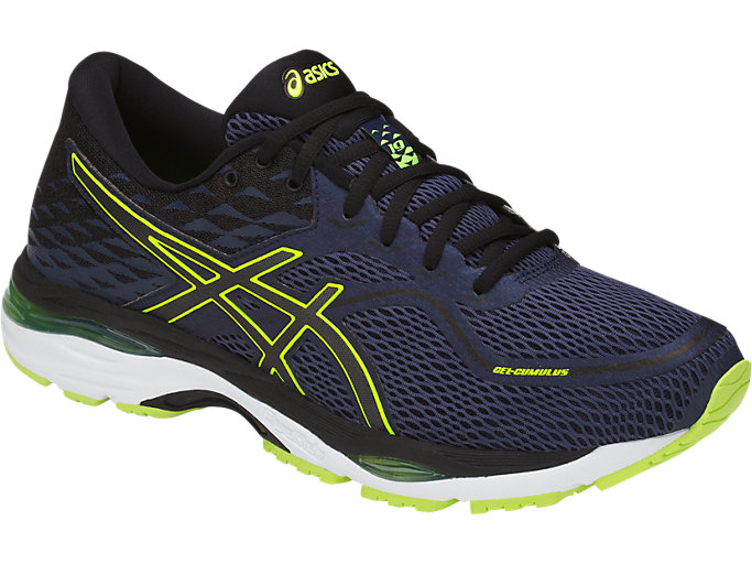 Front Right view of GEL-CUMULUS 19, INDIGO BLUE/BLACK/SAFETY YELLOW