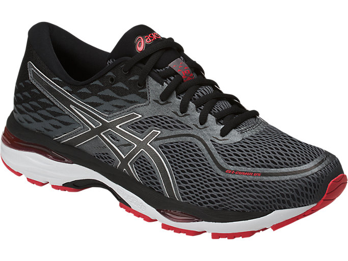 Front Right view of GEL-CUMULUS 19, BLACK/CARBON/FIERY RED
