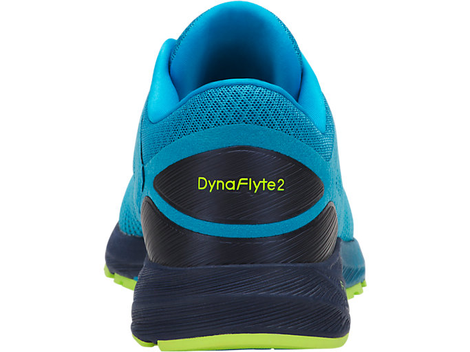Back view of DynaFlyte 2, ISLAND BLUE/SAFETY YELLOW/INDIGO BLUE