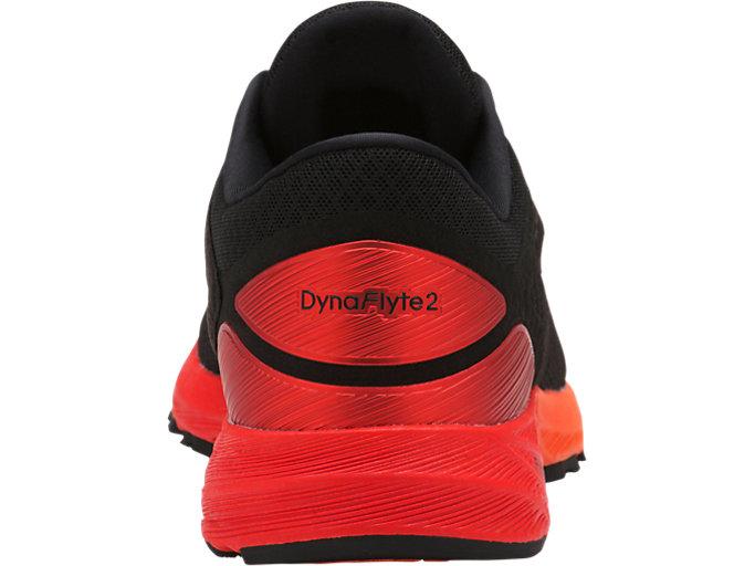 Back view of DynaFlyte 2, Black/Fiery Red/Shocking Orange