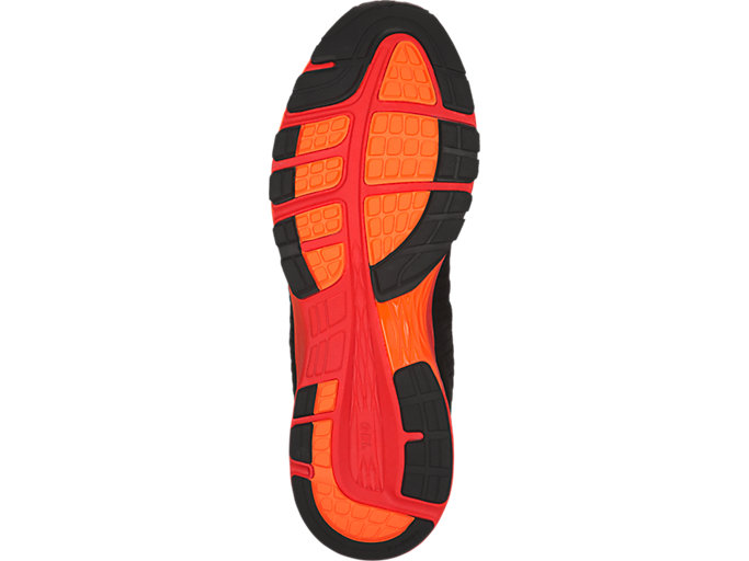 Bottom view of DynaFlyte 2, Black/Fiery Red/Shocking Orange