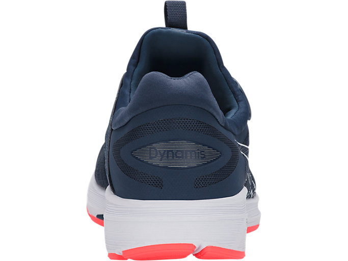 Back view of Dynamis, DARK BLUE/WHITE/FLASH CORAL
