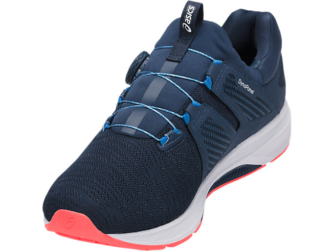 Front Left view of Dynamis, DARK BLUE/WHITE/FLASH CORAL