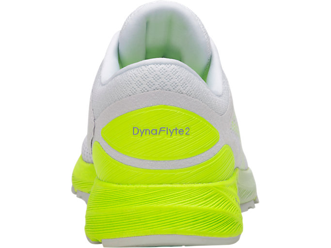 Back view of DynaFlyte 2, WHITE/SAFETY YELLOW/ARUBA BLUE