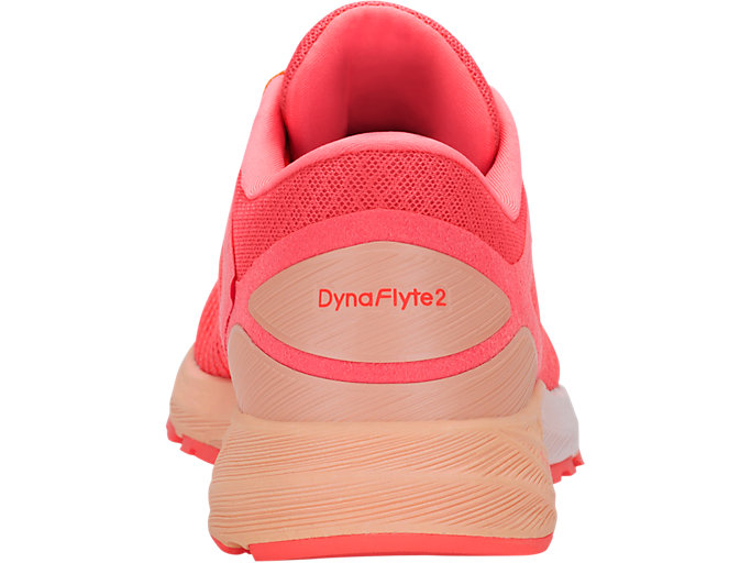 Back view of DynaFlyte 2, FLASH CORAL/WHITE/APRICOT ICE