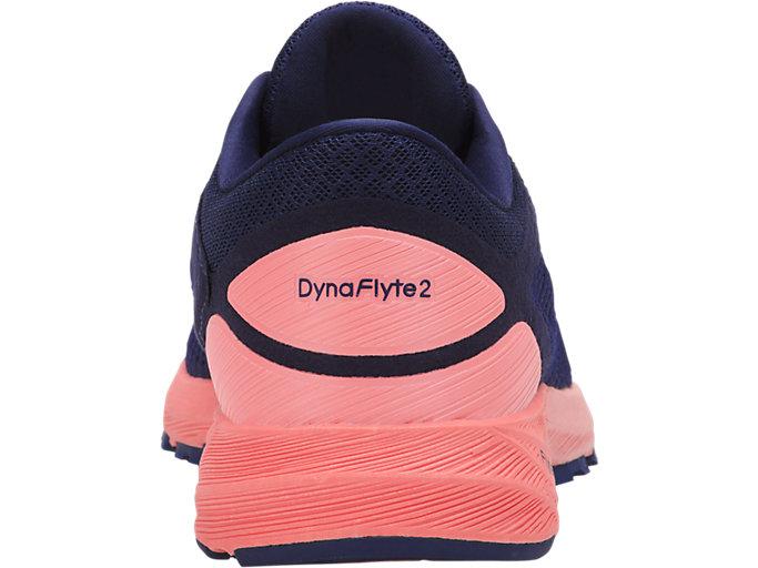 Back view of DynaFlyte 2, INDIGO BLUE/WHITE/BEGONIA PINK