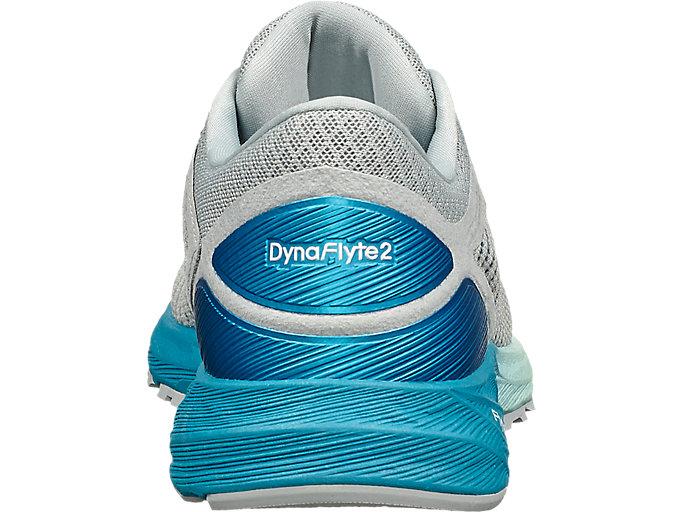 Back view of DynaFlyte 2, MID GREY/ARCTIC AQUA/GLACIER SEA