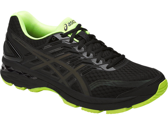 Front Left view of GT-2000 5 LITE-SHOW Herren Straßenlauf Schuhe, Black/Safety Yellow/Reflective