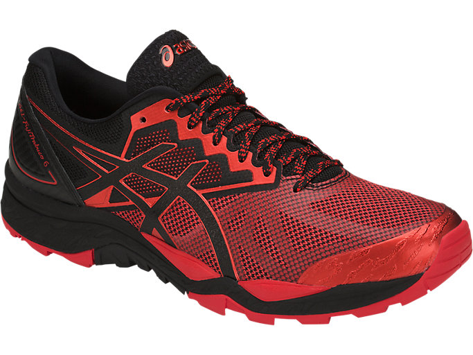 Front Right view of GEL-FUJITRABUCO 6, BLACK/FIERY RED/BLACK