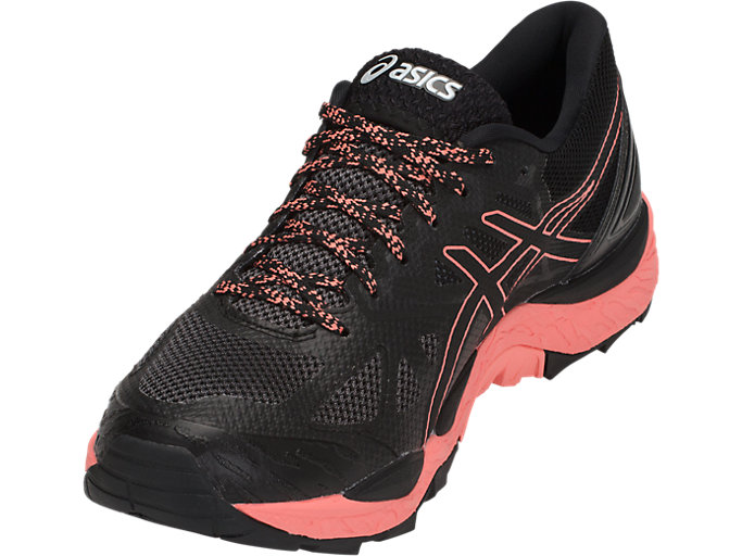 Front Left view of GEL-FUJITRABUCO 6 G-TX, BLACK/BEGONIA PINK/BLACK