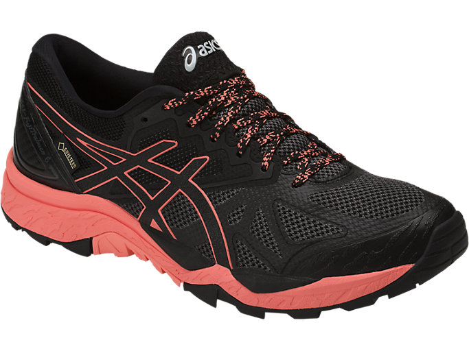Front Right view of GEL-FUJITRABUCO 6 G-TX, BLACK/BEGONIA PINK/BLACK