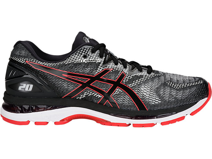 Right side view of GEL-NIMBUS 20, BLACK/RED ALERT