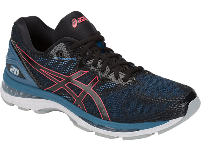 Front Right view of GEL-NIMBUS 20, BLACK/AZURE