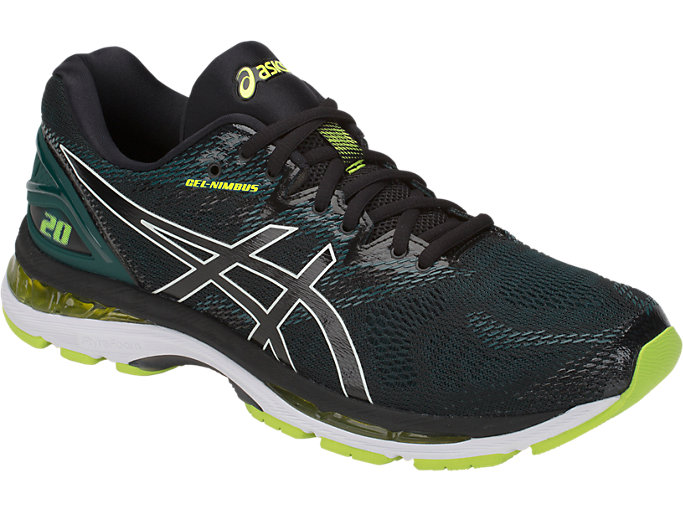 Front Right view of GEL-NIMBUS 20, BLACK/NEON LIME