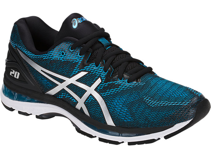 Front Right view of GEL-NIMBUS 20, ISLAND BLUE/WHITE/BLACK