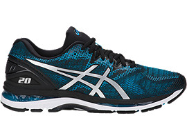 Right side view of GEL-NIMBUS 20, ISLAND BLUE/WHITE/BLACK