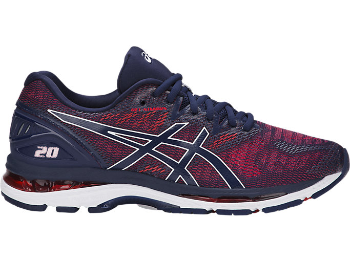 Right side view of GEL-NIMBUS 20, INDIGO BLUE/INDIGO BLUE/FIERY RED