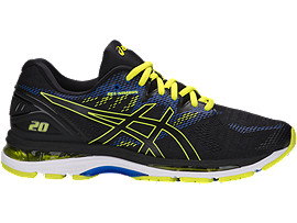 Right side view of GEL-NIMBUS 20, BLACK/SULPHUR SPRING/VICTORIA BLUE