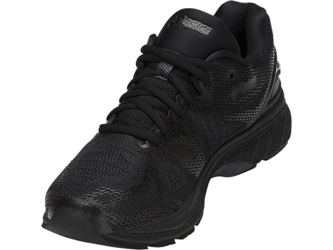 Front Left view of GEL-NIMBUS 20, BLACK/BLACK/CARBON