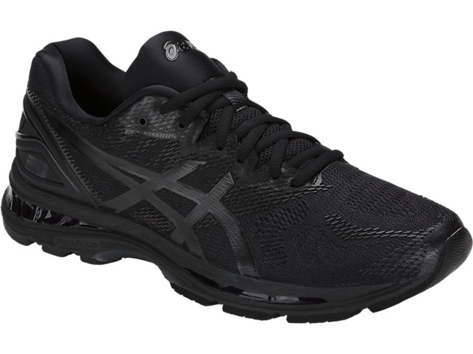 Front Right view of GEL-NIMBUS 20, BLACK/BLACK/CARBON