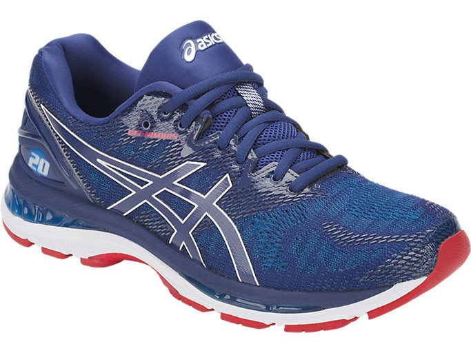 Front Right view of GEL-NIMBUS 20, BLUE PRINT/RACE BLUE