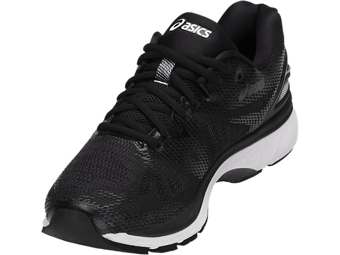 Front Left view of GEL-NIMBUS 20, BLACK/WHITE/CARBON