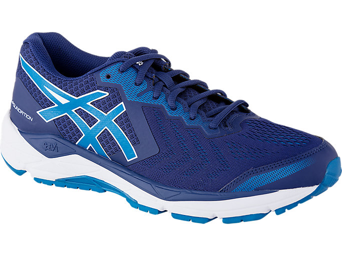 Front Right view of GEL-FOUNDATION™ 13 (2E), BLUE PRINT/RACE BLUE