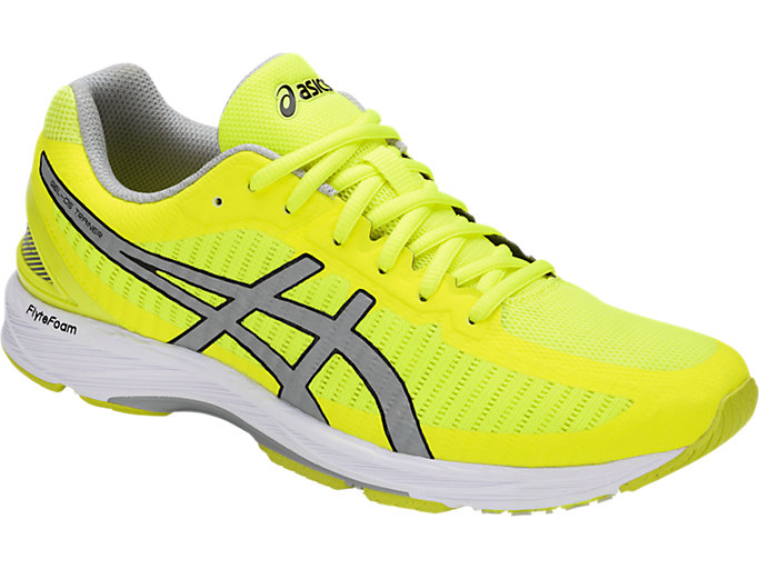 Front Right view of GEL-DS TRAINER 23, SAFETY YELLOW/MID GREY/WHITE