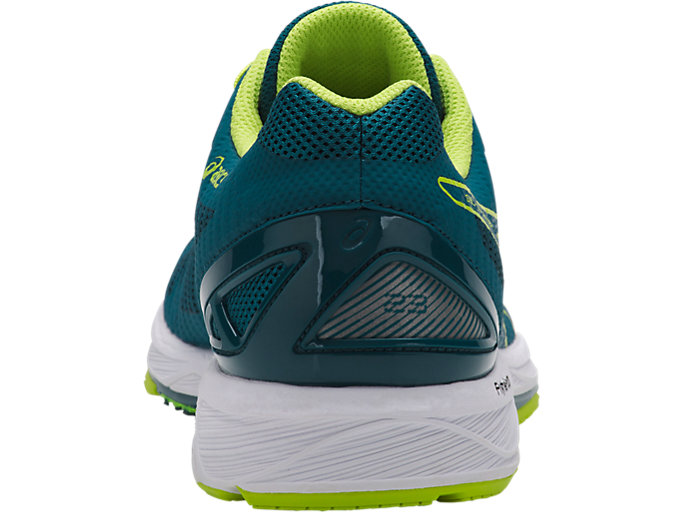 Back view of GEL-DS TRAINER 23, DEEP AQUA/NEON LIME