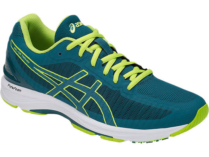 Front Right view of GEL-DS TRAINER 23, DEEP AQUA/NEON LIME