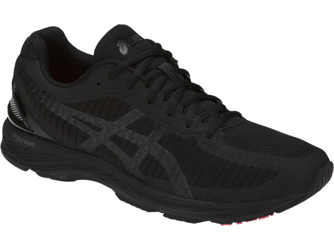 Front Right view of GEL-DS TRAINER 23, BLACK/BLACK/FLASH CORAL