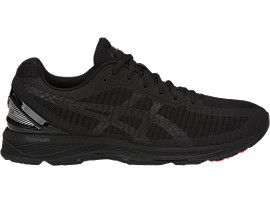 Right side view of GEL-DS TRAINER 23, BLACK/BLACK/FLASH CORAL