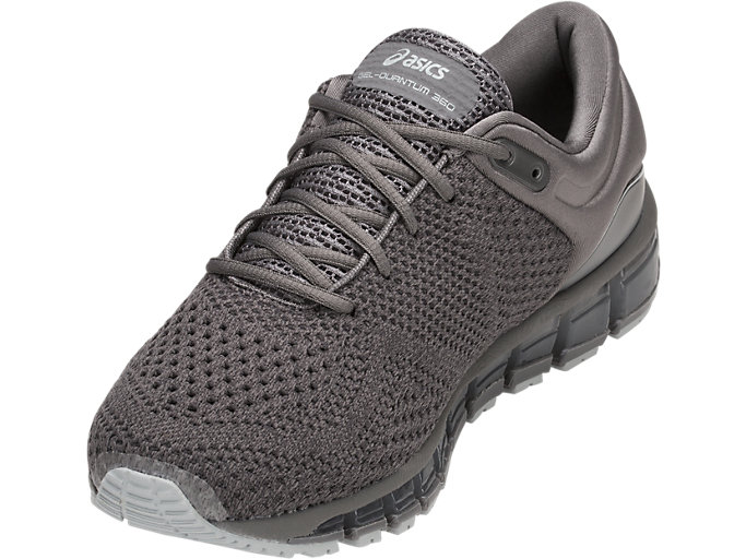 Front Left view of GEL-QUANTUM 360 KNIT 2, CARBON/DARK GREY