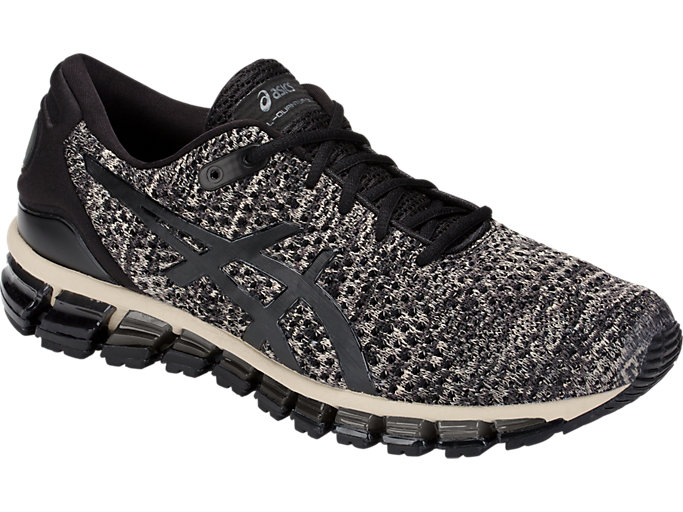 Front Right view of GEL-QUANTUM 360 KNIT 2, FEATHER GREY/BLACK
