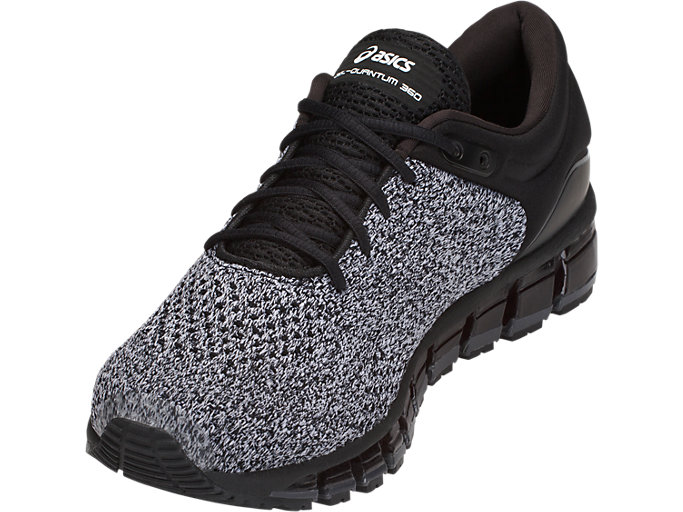 Front Left view of GEL-QUANTUM 360 KNIT 2, BLACK/WHITE/BLACK