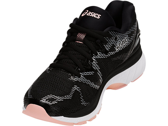 Front Left view of GEL-NIMBUS 20, BLACK/FROSTED ROSE