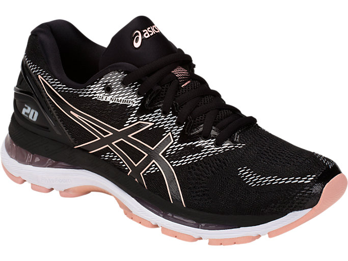 Front Right view of GEL-NIMBUS 20, BLACK/FROSTED ROSE